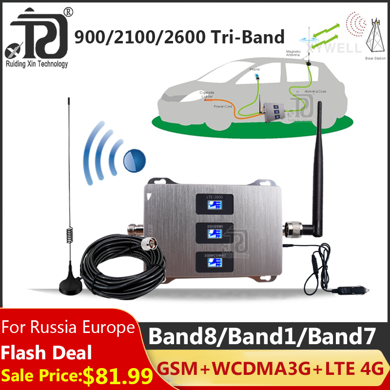 Car Use Tri-Band 900/2100/2600mhz Signal Booster LTE WCDMA GSM Repeater 2g 3g 4g Cellular Amplifier 4G Mobile Signal Booster