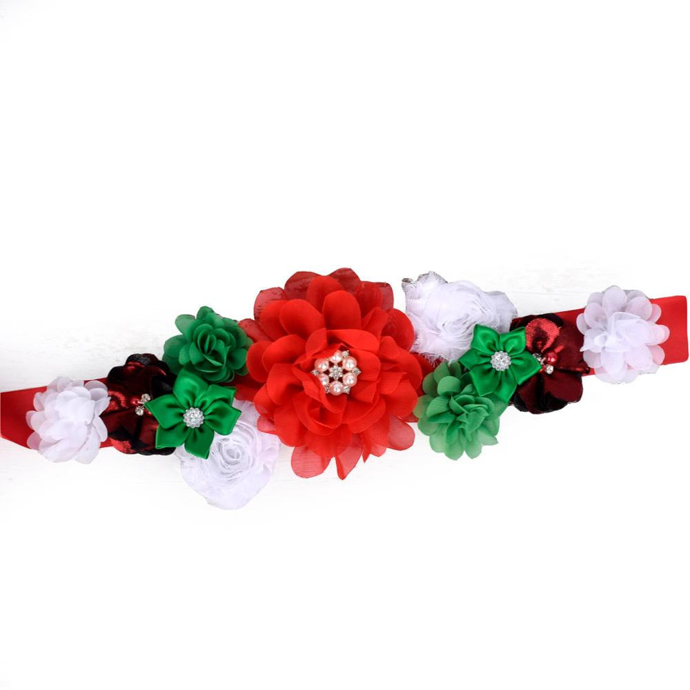 Theeper Christmas Flower Sash Women Floral Waist Belt Baby Shower Party Belly Belt MaternitySash Photo Prop 3 Color Options