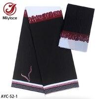 New Design Imitated Wax Materials Chiffon Printed Fabric 4 Yards + Satin Silk Fabric 2 Yards for Men Women Clothing AYC 52