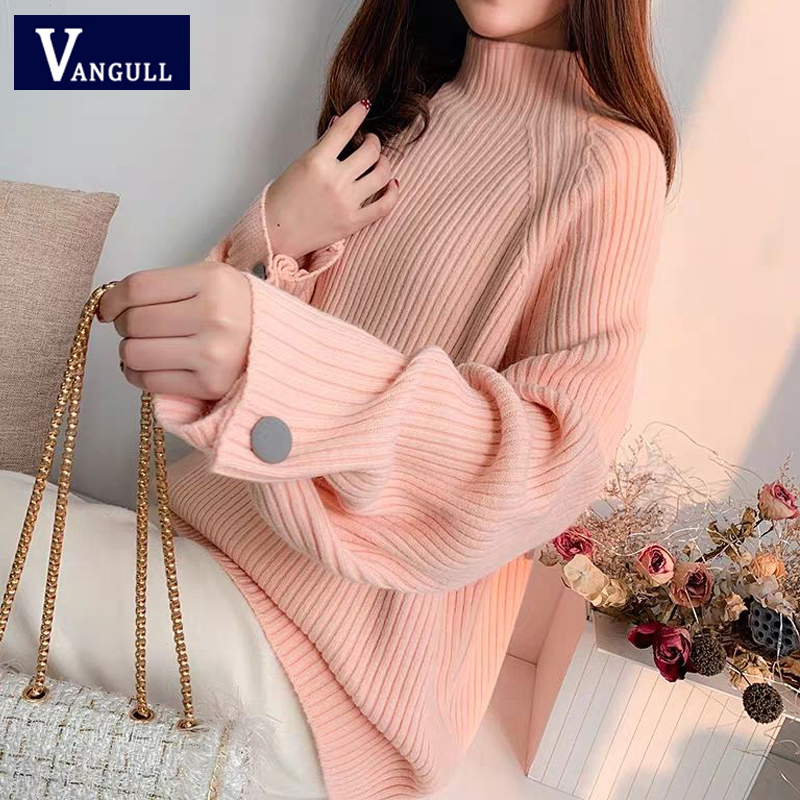 Vangull  Knitted Women Sweater Fashion Loose Half Turtleneck Solid Pullovers 2019 New Winter Batwing Sleeve Button Women Sweater