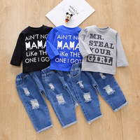 PatPat 2020 New Spring and Autumn 2pcs Baby Boy casual Letter Baby's Sets for Baby Boy Clothing Sets