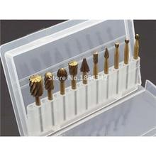 10 шт. набор коробок из быстрорежущей стали, титановый Dremel роторный фрезерный роторный резак, резьба по дереву, резные ножи, режущие инструменты, аксессуары