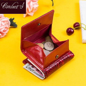 Image 2 - Contacts Womens Wallet Genuine Leather Purse Hasp Coin Pocket RFID Wallet Card Holder Femal Money Bag Small Carteira Feminina