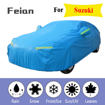 Plus thick velvet Waterproof Full Blue Car Cover Outdoor uv protection dust rain snow protective SUV sedan hatchback for Suzuki