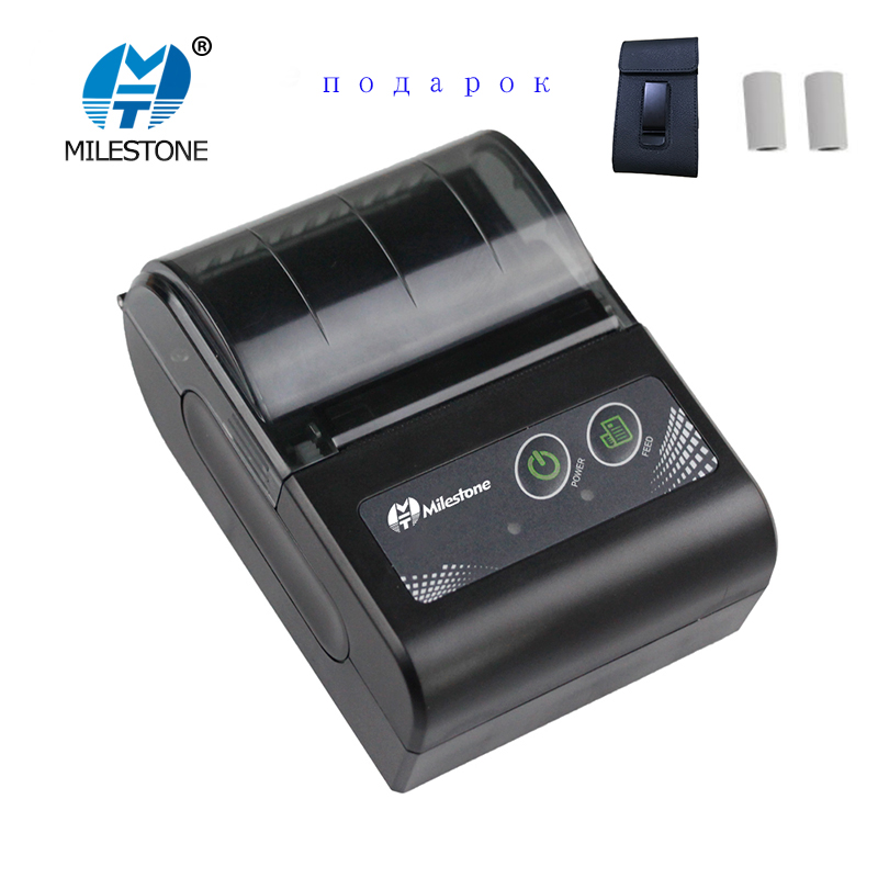Milestone Portable Thermal Printer Bluetooth receipt bill 58mm 2 inch Mini pos Wireless Windows Android IOS mobile Pocket p10
