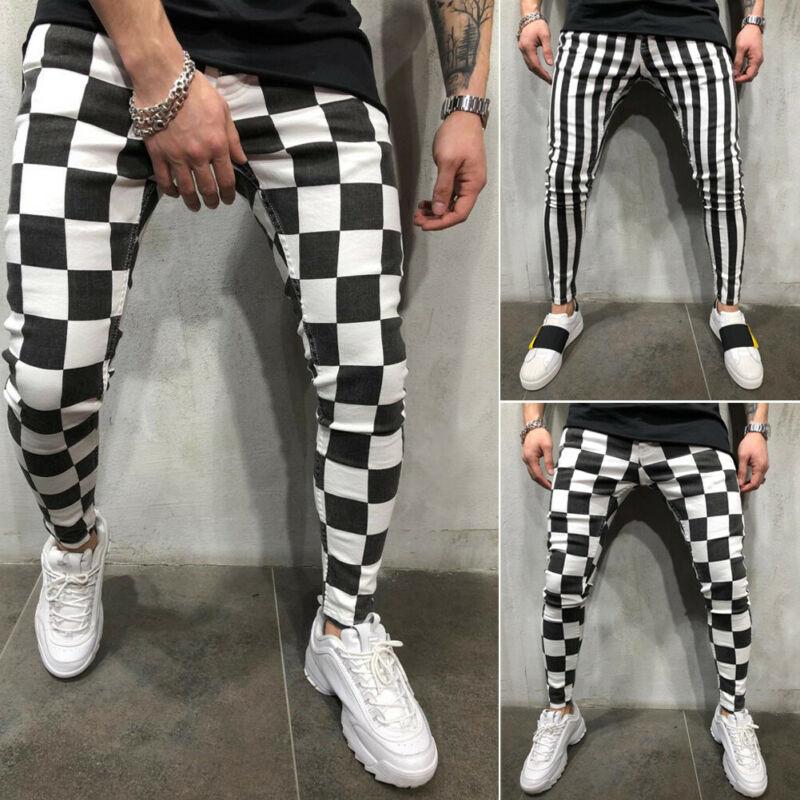 Men's Summer Fashion Slim Black White Striped Plaid Trousers Casual Comfortable Hip Hop Pants