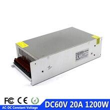 Controlador del interruptor de la fuente de alimentación de 1200W 60V 20A, transformador de 220V 110V CA a DC60V smps para máquina bricolaje CNC LED CCTV