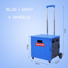 E-FOUR Portable Shopping Cart Folding Hand Fashion Storage Car Home Luggage Trolley Trunk Box with 4 Wheel