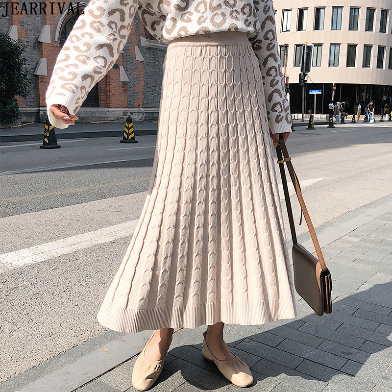 Warm Long Knitted Winter Skirts Womens High Waist Elastic Casual Pleated Skirt 2019 Fashion Ladies Midi Skirt Saia Faldas Mujer