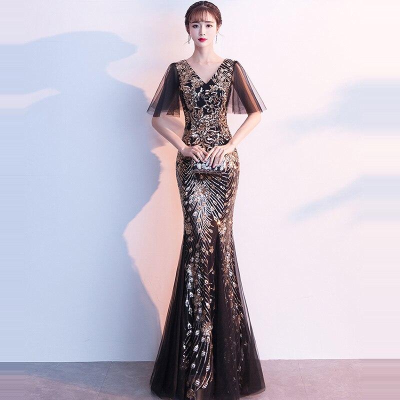Evening Dress V-neck Women Party Dresses 2019 Floor Length Elegant Robe De Soiree Short Sleeve Sequin Formal Evening Gowns F225