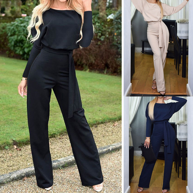 Loose Lace up Slim Elegant   Jumpsuit   O Neck Long Sleeve Casual Autumn Clothes Office Ladies Long   Jumpsuit   Women 's Overalls Black