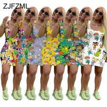 Postać z kreskówki lato Plus rozmiar sukienki kobiety z wycięciem obcisła sukienka do kolan bez rękawów Casual wysoka talia Backless klub Party Dress
