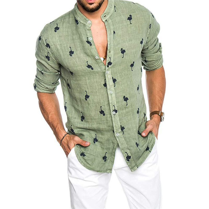 Newest Mens Fashion Casual Printed Flamingo Shirts Cotton Slim Fit Button Placket Korean Collar Long Sleeve Male Social Business
