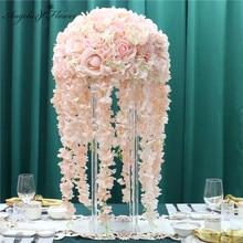 35/45/50CM düğün dekor yol kurşun masa çiçek buketi DIY yapay çiçek top ipek masa çiçek Centerpiece parti olay