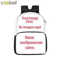 Customize Your Name Logo Image Backpack Men Women Travel Bags Children School Bags for teenager boy girl school Backpack Bookbag