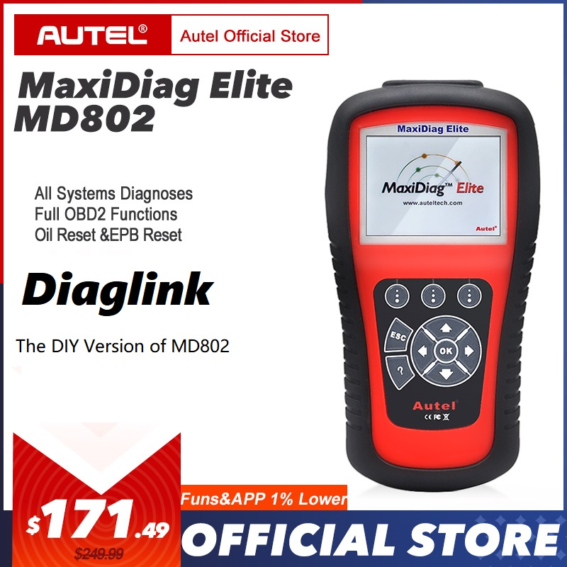 AUTEL MaxiDiag Elite MD802 Diaglink OBD2 Scanner All&4 System Auto Car Code Reader EPB Oil Reset OBD 2 Diagnostic Tool PK MD805-in Code Readers & Scan Tools from Automobiles & Motorcycles