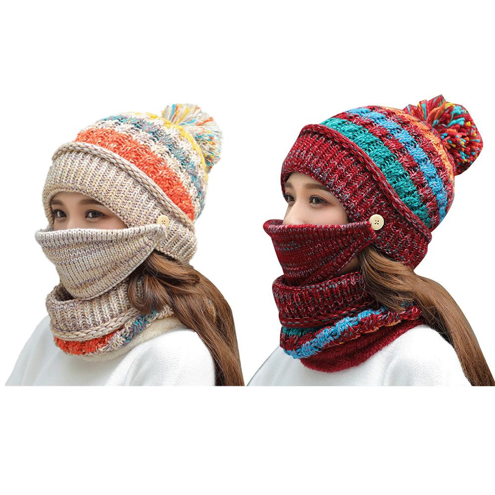Winter Tide Warm Wool Female Knitted Hat Mask Scarf Set Sweet Cute Lady Cycling Cold Velvet Earmuffs Knit Riding Cap 30E