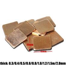 15*15mm Thermische Pad Barriere Reinem Kupfer Kühlkörper Shim für Laptop Platte 0,3mm-2,0mm Computer grafikkarte Kühlkörper Cooling Pad
