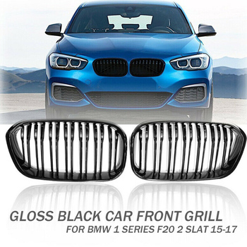 1Pair Gloss Black ABS Double Slat Front Grill Grille For BMW 1 F20 F21 118i 120i M135i 2015-17
