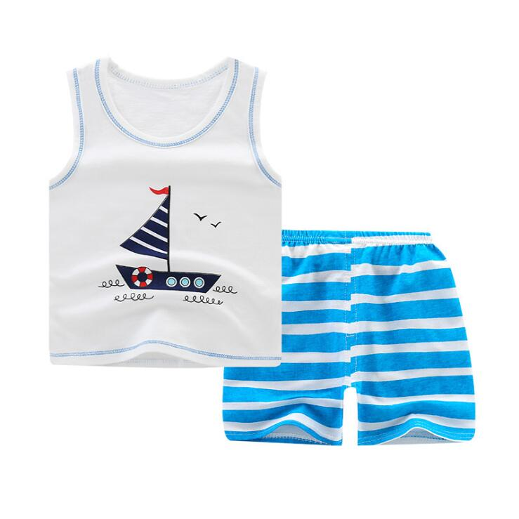 Summer Baby Boy Clothes Toddler Boys Cartoon Vest+shorts 2pcs Suits New Children Print Clothing Sets Kids Cotton Cute Sets