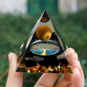 HANDMADE Tiger Eye Crystal Sphere & Obsidian Quartz Orgone Pyramid 60MM Reiki Energy Healing Chakra Meditation 1