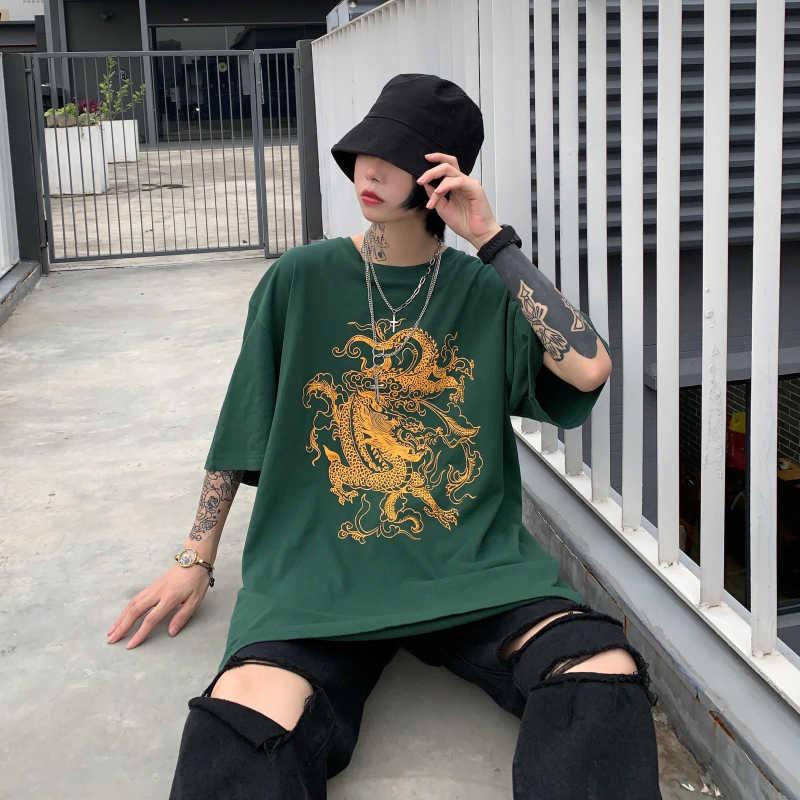 Wanita T-shirt Dragon Kasual Cetak Longgar Dropshipping Atasan Kemeja Vintage Gothic Asing Hal Mesh Top Harajuku Pakaian Cetak