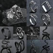 Moda voando dragão anéis punk vintage cobra anel ajustável hiphop rock jóias dedo para o homem feminino presente