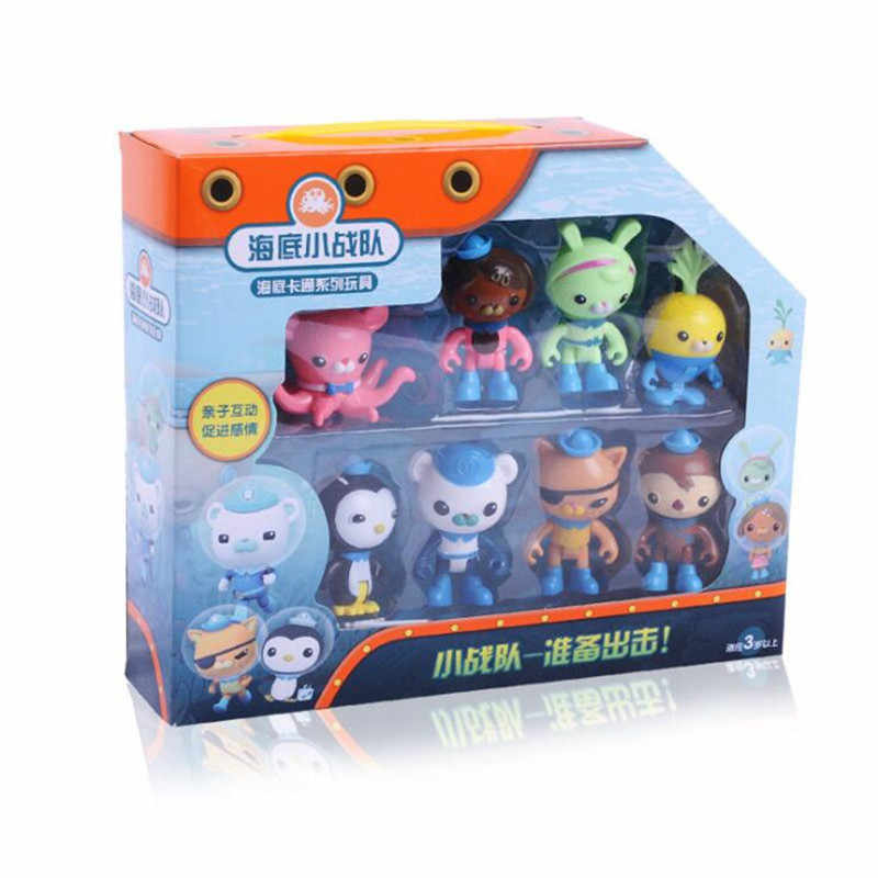 8 pçs/set Octonauts Cracas Capitão Pinguim Mini Modelo Toy Action Figure Boneca Caçoa o Presente