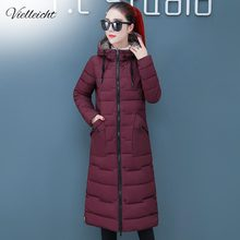 Vielleicht nowa śnieżna dwustronna kurtka długa, ciepła kurtka zimowa z grubej bawełny z kapturem ocieplana odzież wierzchnia dla kobiet płaszcz zimowy