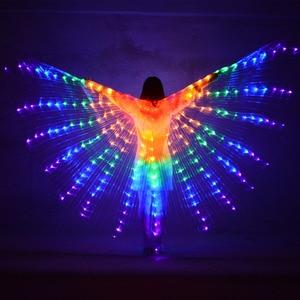 Image 2 - Múa Bụng LED Cánh Trẻ Em Hiệu Suất Huỳnh Quang Bướm Isis Cánh Múa Bụng Bellydance Carnival Led Trang Phục Cho Thấy