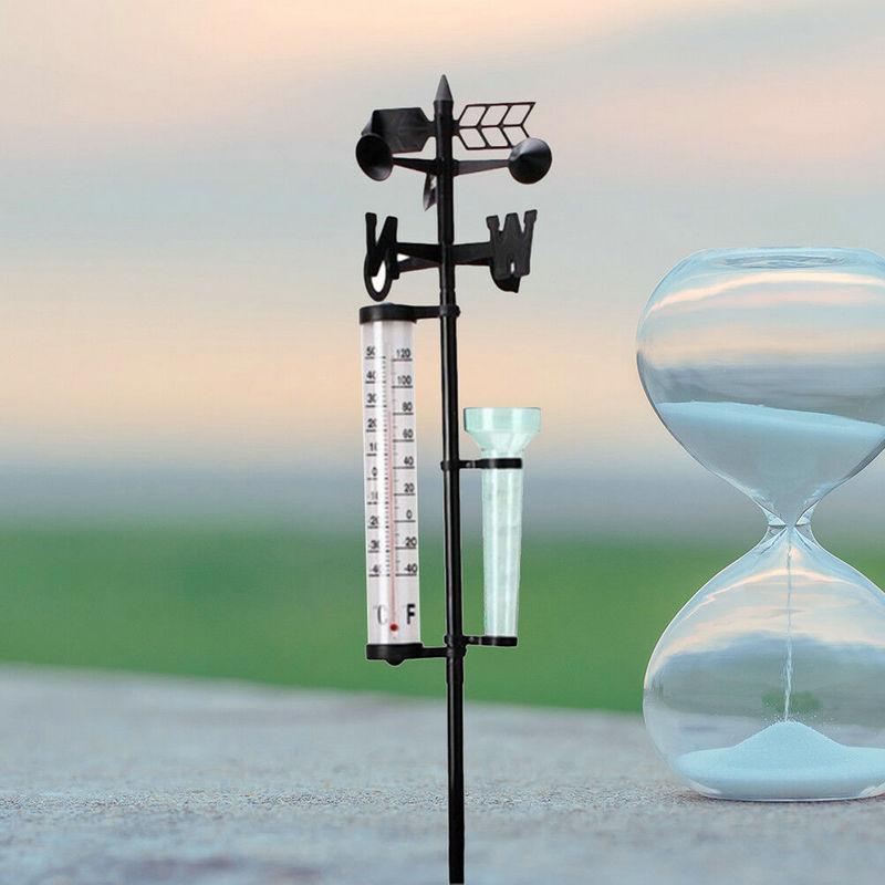 Outdoor Garden Weather Station Meteorological Measurer Vane Tool Wind Rain Gauge