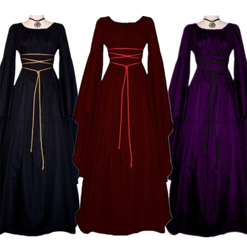New Victoria Middle Ages Dress Halloween Costumes For Women Medieval Cosplay Vampire Devil Bride Party Court Carnival Dresses