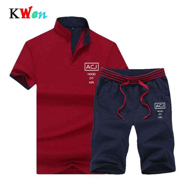 Sportsuits Set Men 2019 Brand Fitness Suits Summer 2PC Top Short Mens Stand Collar Fashion 2 Pieces T-shirt Shorts Tracksuit