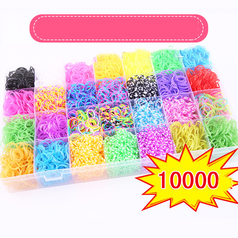 10000pcs 28 Color Rubber Loom DIY Weaving Box Gummies For Bracelets Weaving Machine Braid Set Handicraft Bracelet Kit Kids Toy