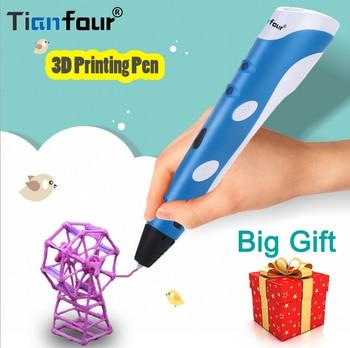 Fast Shipping Tianfour 3D Printer Pen Drawing Pens 1.75mm ABS Filament Original DIY 3D Printing Pen 3D Handles For Kids Gift tianfour 2018 creative toys 3d printing pen 120m 1 75mm abs smart 3d drawing pens paper model drawing board christmas gift toys