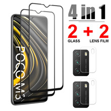 4 in 1 Tempered Glass For Xiaomi Poco M3 X3 X2 F2 M2 Pro Screen Protector Camera Lens Film For Poco X3 NFC Glass