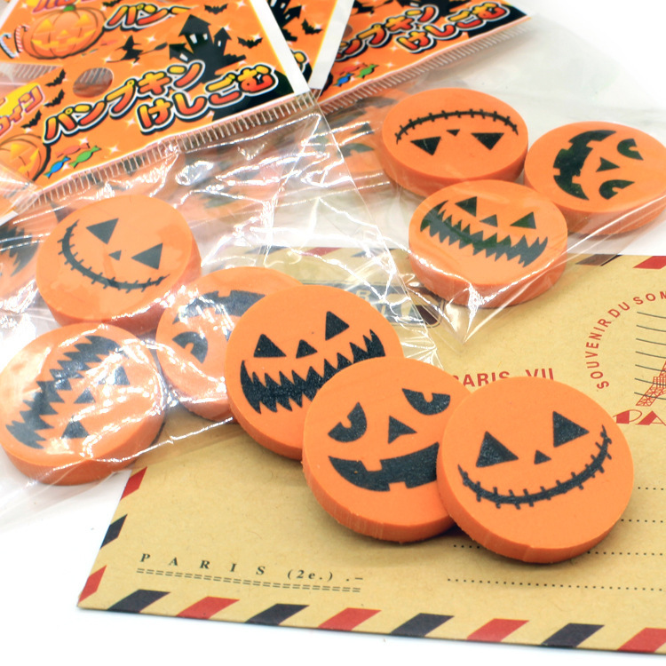 3 Pack/lot Halloween Pumpkin Style Rubber Eraser Primary Student Prizes Promotional Gift Stationery