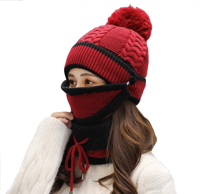 Pom Beanie Scarf Mask Set Fleece Lined Winter Knit Hats for Women Outdoor Wear
