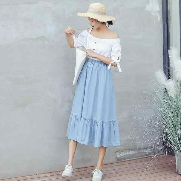 Plus 5XL 2019 nueva moda mujer imperio algodón Europa y estilo americano A-Line Denim faldas delgadas sueltas DC780