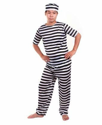 3-piece Set Of Prison Uniform Prisoner Costume For Men Hat / Clothes / Pants (japan Import)