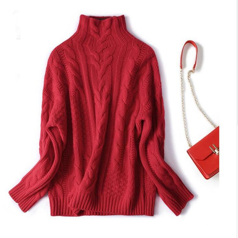 2019 Autumn And Winter New Twist High Collar Sweater Loose Hooded Solid Color Bottoming Shirt Women Thickening Wild Models