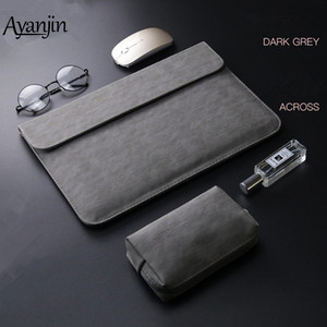 Image 1 - 2019 New Matte PU Leather Sleeve Laptop Bag 15.6 14 For macbook Air 13 Case Pro Retina 11 12 15 For Xiaomi Mi Notebook 12.5 13.3
