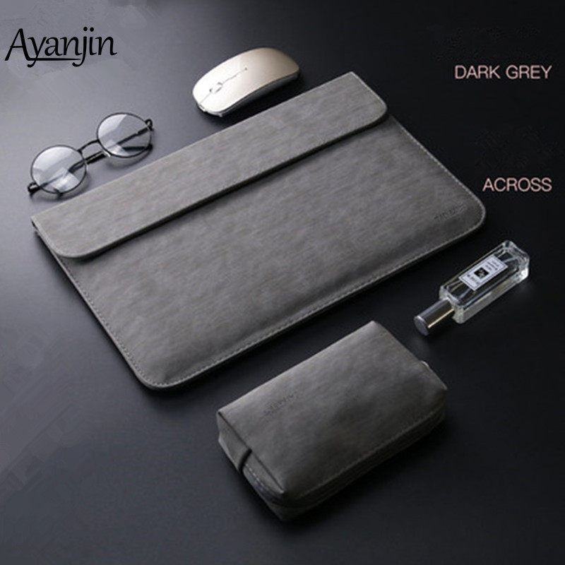 2019 New Matte PU Leather Sleeve Laptop Bag <font><b>15</b></font>.6 14 For macbook Air 13 <font><b>Case</b></font> Pro Retina 11 12 <font><b>15</b></font> For <font><b>Xiaomi</b></font> Mi <font><b>Notebook</b></font> 12.5 13.3 image