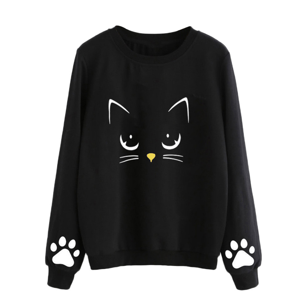 Women's Sweatshirt Autumn Women Autumn And Winter Cat Print Pullover Round Neck Long Sleeve Regular Blouse Female Tops #A9