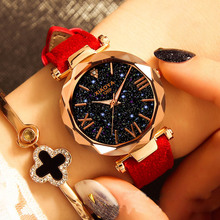 2019 Luxury Brand Womens Watches Personality Romantic Starry Sky Wristwatch Leather Rhinestone Designer Ladies New Dropshipping