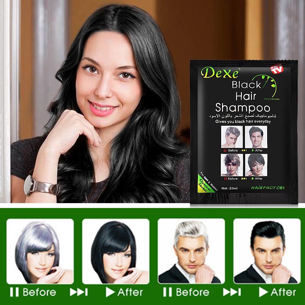 10pcs Instant Black Hair Shampoo Hair Dye 5 Minutes Make Grey White Hair Colored Darkening Black Shinny Hair Styling Dropship 6