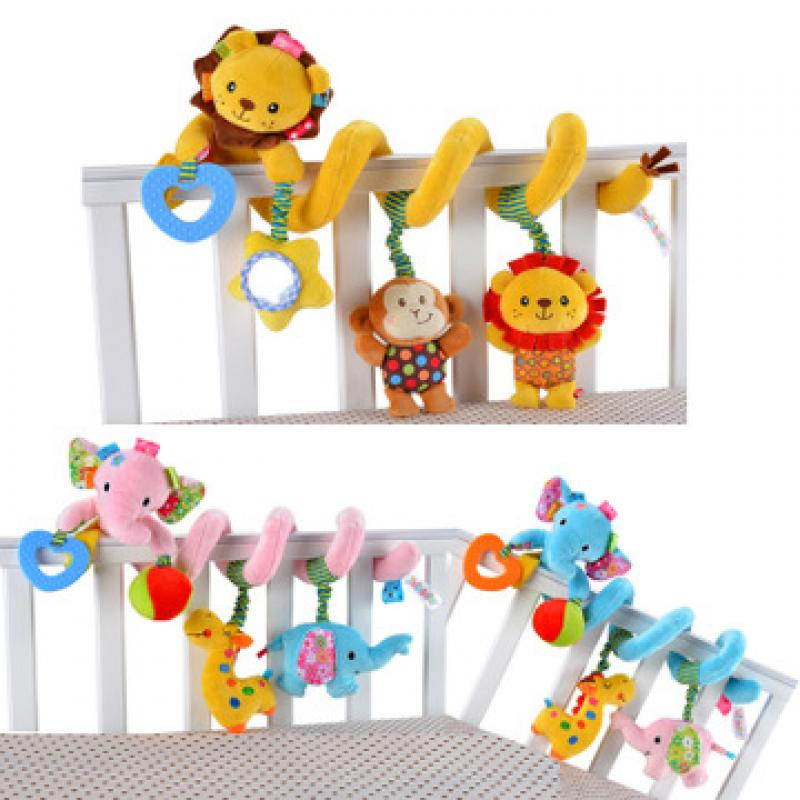 1pcs Educational Toys Baby Plush Animal Rattle Infant Stroller Bed Crib Spiral Hanging Toys For Baby Gift