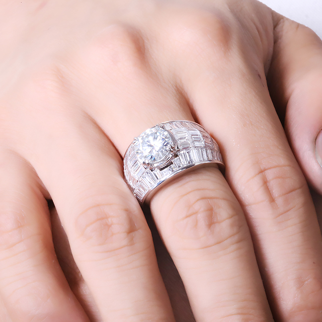 2.0carat 8.0mm Round Excellent Cut Moissanite Engagement Wedding Ring, Side Stone Natural Real Diamond, Solid 18k White Gold