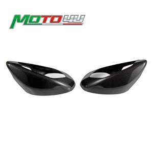 New For Ducati Panigale V4 Real Carbon Fiber Mirror Cover Protection 1 Pair Left&Right Gloss Plain Weave 100% Carbon