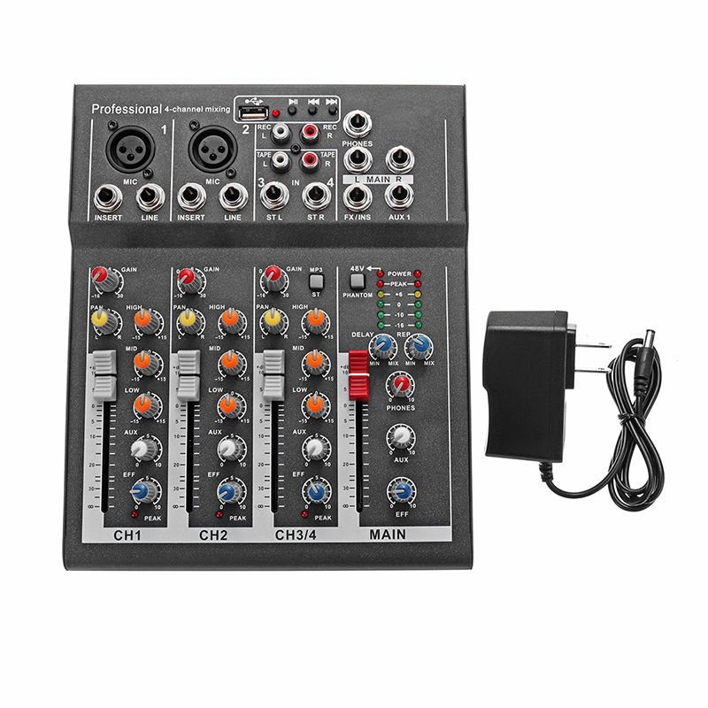 Image 2 - LEORY Mini Digital Karaoke Microphone Amplifier Mixing Audio Sound Mixer Console 4 Channel Built in 48V Phantom Power With USB-in Karaoke Player from Consumer Electronics
